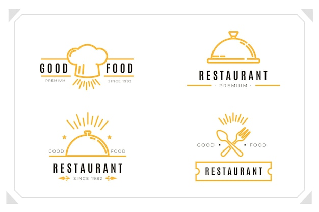Kolekcja liniowych płaskich logo cateringowych