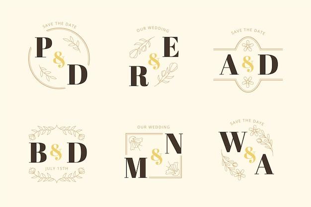 Kolekcja liniowych płaskich logo ślubnych