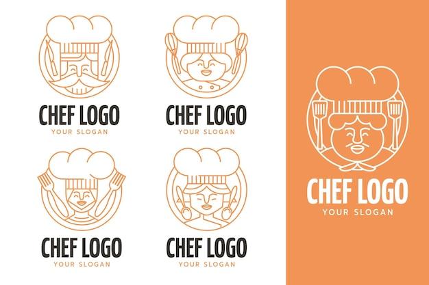 Kolekcja liniowych płaskich logo szefa kuchni