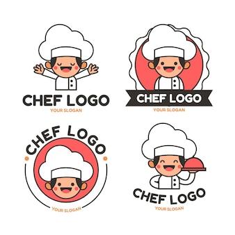 Kolekcja Liniowych Płaskich Logo Szefa Kuchni Premium Wektorów