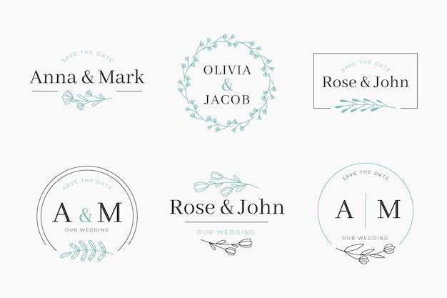 Kolekcja liniowych płaskich monogramów ślubnych
