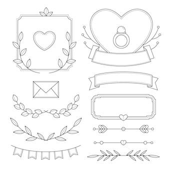Kolekcja liniowych płaskich ozdób ślubnych