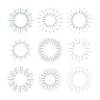 Kolekcja liniowych płaskich sunbursts