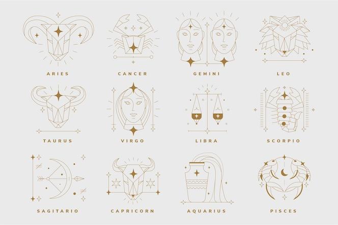 Kolekcja liniowych płaskich znaków zodiaku
