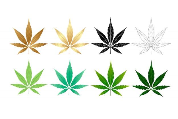 Kolekcja liści marihuany wektor