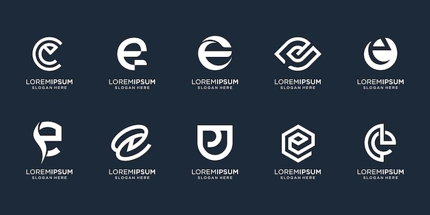 Kolekcja list e logo szablon. inspiracja do projektowania monogramów dla firmy biznesowej, korporacyjnej, tożsamości, technologii. wektor premium