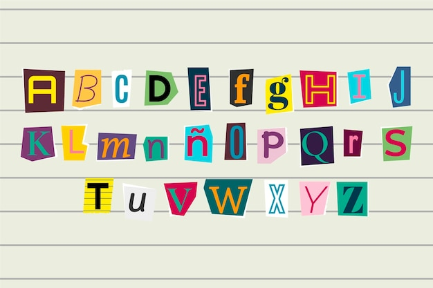 Kolekcja listów z notatką okupu w stylu papieru