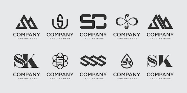 Kolekcja listu s ss logo ikona scenografia dla biznesu mody sportowej luksusu