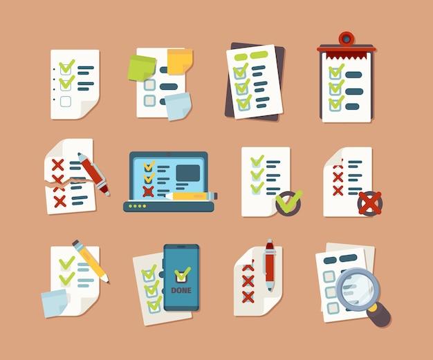 Kolekcja listy kontrolnej. biznesowe listy tekstowe z ikonami znaczników klipu harmonogramu wektorów zdjęć w stylu płaskiej. lista kontrolna i pole wyboru, znacznik wyboru, zaznacz pozytywną ilustrację