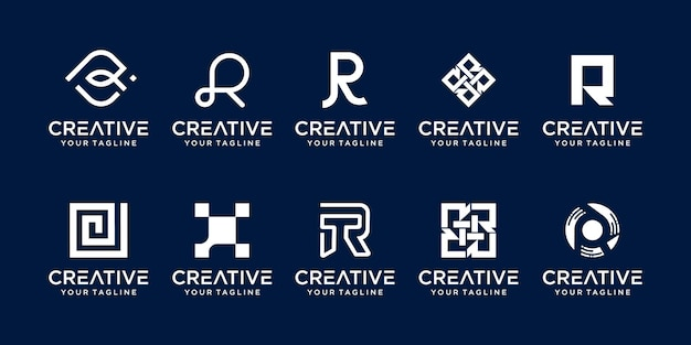 Kolekcja litera r logo ikona scenografia dla biznesu mody sport automotive