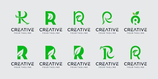 Kolekcja litera r logo ikona scenografia dla biznesu z liści natury czystej