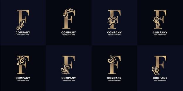 Kolekcja litery f logo z luksusowym ornamentem