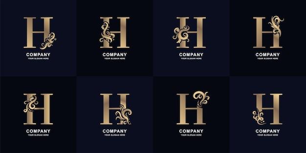 Kolekcja litery h logo z luksusowym ornamentem