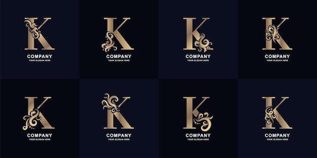 Kolekcja litery k logo z luksusowym ornamentem