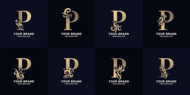 Kolekcja litery p logo z luksusowym ornamentem