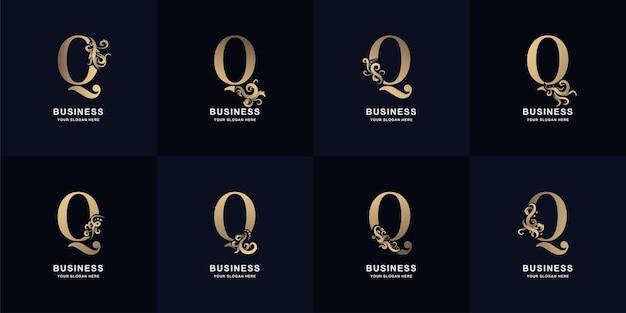 Kolekcja litery q logo z luksusowym ornamentem