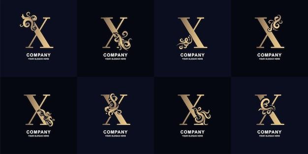 Kolekcja litery x logo z luksusowym ornamentem