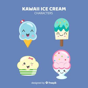 Kolekcja lodów kawaii