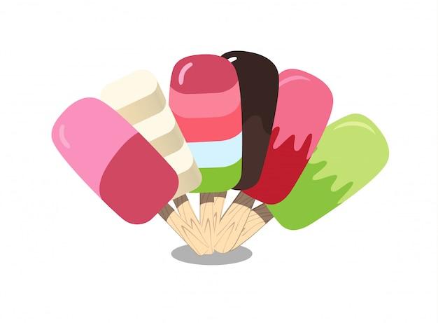 Kolekcja lodów. piękny kolorowy zestaw. ilustracja do sieci lub druku.