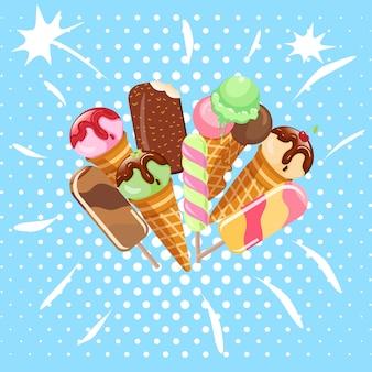 Kolekcja lodów słodkich deserów zimne jedzenie ilustracje wektorowe na białym tle. smakowita zimna lodowa śmietanka o smaku śmietankowo-mlecznym. miękka, pyszna piłka do lodów.