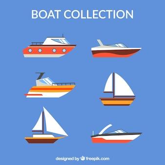 Kolekcja łodzi w płaskiej konstrukcji