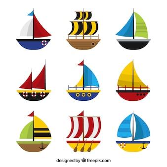 Kolekcja łodzi w płaskim stylu