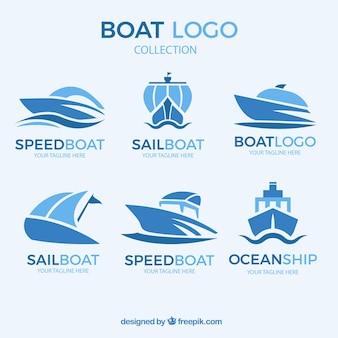 Kolekcja logo abstrakcyjna łodzi