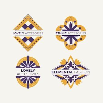 Kolekcja logo akcesoriów modowych o płaskiej konstrukcji