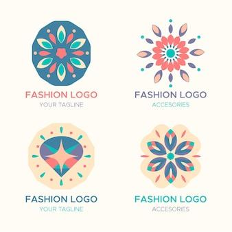 Kolekcja logo akcesoriów mody o płaskiej konstrukcji