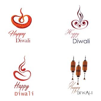 Kolekcja logo akwarela diwali