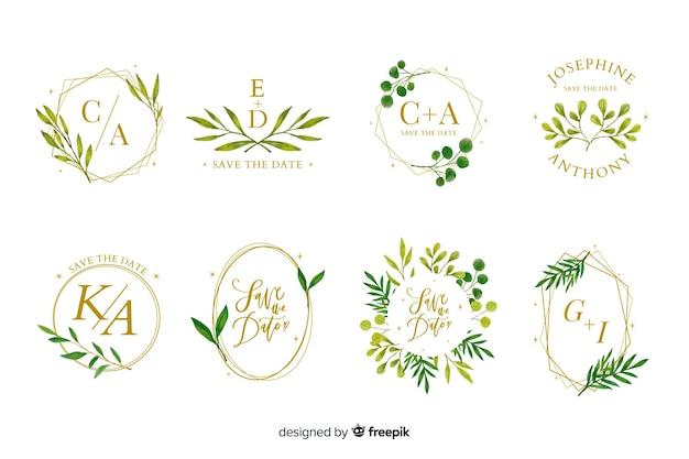 Kolekcja logo akwarela ramki ślubne