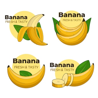 Kolekcja logo bananów z liśćmi