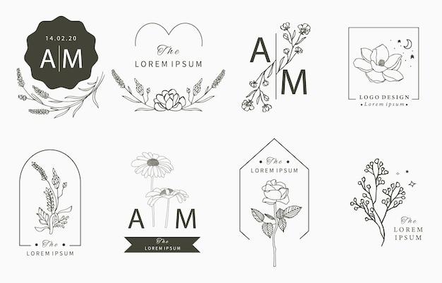 Kolekcja logo beauty occult z geometrią, magnolią, lawendą, księżycem, gwiazdą, kwiatem.