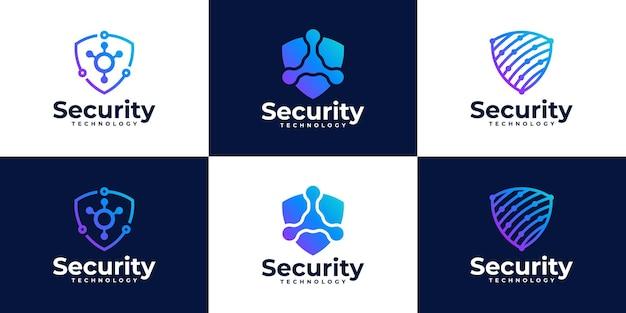 Kolekcja logo bezpieczeństwa cybernetycznego z koncepcją tarczy i kropki.