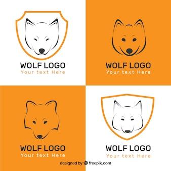 Kolekcja logo białego wilka
