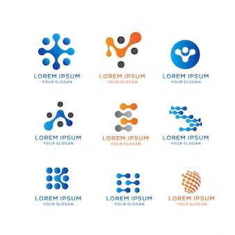 Kolekcja logo blockchain connection