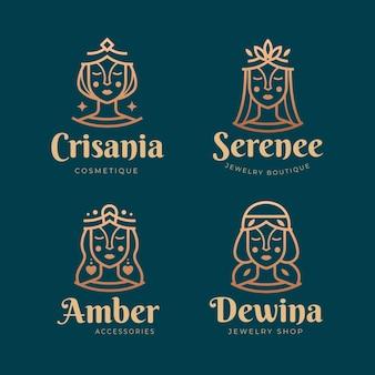 Kolekcja logo bogini gradientu