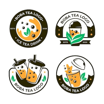 Kolekcja logo bubble tea