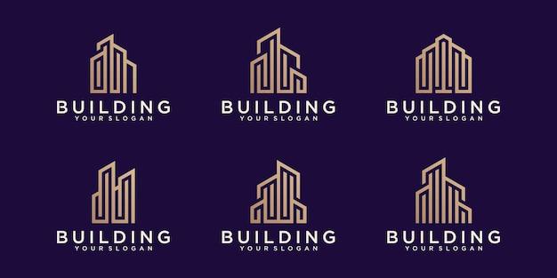 Kolekcja logo budynku w stylu grafiki liniowej
