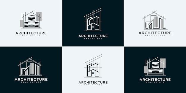 Kolekcja logo budynku z unikalnymi szablonami projektowania logo w stylu sztuki linii.