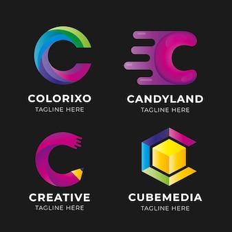 Kolekcja logo c w kolorze gradientu