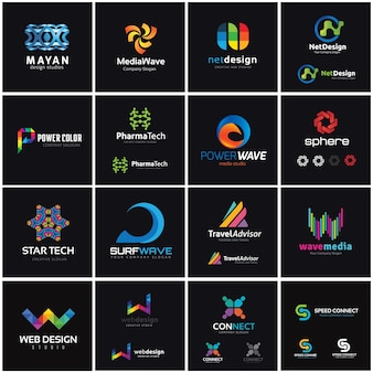Kolekcja logo creative, szablon projektu logo media i kreatywności.