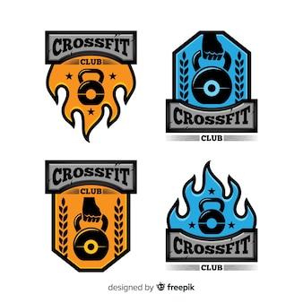 Kolekcja logo crossfit o płaskiej konstrukcji