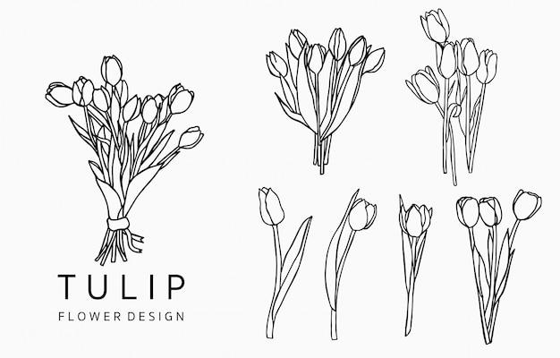 Kolekcja logo czarnego tulipana z liśćmi, geometryczna.