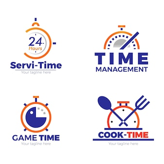 Kolekcja logo czasu gradientu