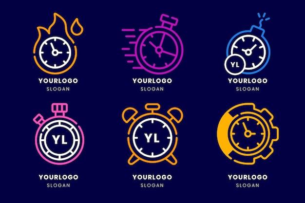 Kolekcja logo czasu płaskiej konstrukcji