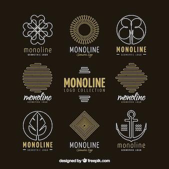 Kolekcja logo dark monoline