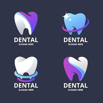 Kolekcja logo dentystycznych w kolorze gradientu
