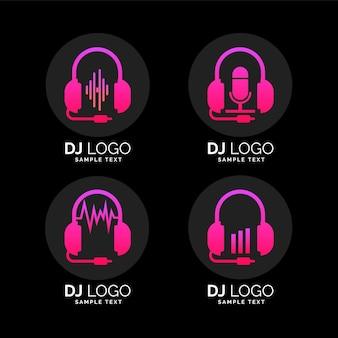 Kolekcja logo dj w kolorze gradientu