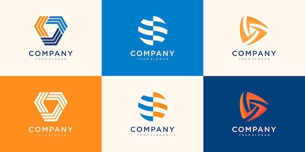 Kolekcja logo dla twojej firmy. stowarzyszenie, media, bezpieczeństwo, praca zespołowa